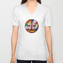 Soccer ball with flag of Northern Ireland in the center Unisex V-Neck