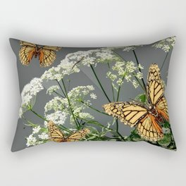 """CREAM COLORED BUTTERFLIES """"SPRING SONG"""" LACE FLOWERS Rectangular Pillow"""