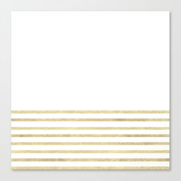 White and Gold Stripes Canvas Print