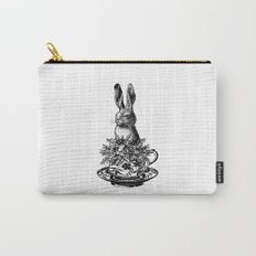 Rabbit in a Teacup | Black and White Carry-All Pouch