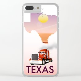 Texas trucking poster Clear iPhone Case