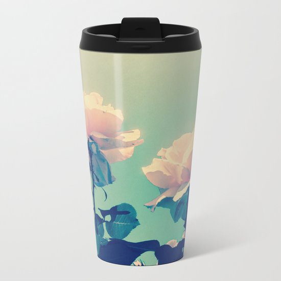 Soft Baby Pink Roses with Mint Blue Sky Backgroud Metal Travel Mug