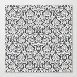 Vintage black white chic elegant floral damask Canvas Print