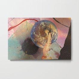 Earth Rocket Blast Off Mixed Media Metal Print