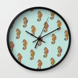 Floating Seahorses // Green Wall Clock