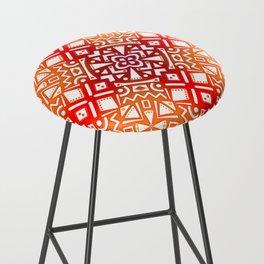 Tribal Tiles II (Red, Orange, Brown) Geometric Bar Stool