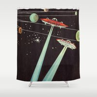 aliens Shower Curtains featuring Aliens  by dreamshade