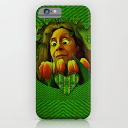 lady cartoon love her tulips in peace iPhone Case