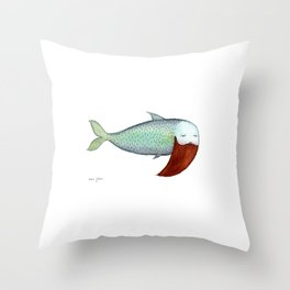 fish with beard Throw Pillow