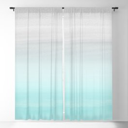 Touching Aqua Blue Gray Watercolor Abstract #1 #painting #decor #art #society6 Blackout Curtain