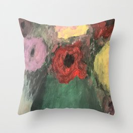 Florals in a green vase Throw Pillow