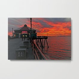 Ruby's Diner Sunset ~ Huntington Beach Pier CA  11/26/13 Metal Print