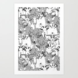 just goats black white Art Print