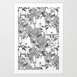 just goats black white Art Print