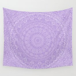 The Most Detailed Intricate Mandala (Violet Purple) Maze Zentangle Hand Drawn Popular Trending Wall Tapestry
