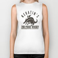whisky Biker Tanks featuring Keratin's Dragon Distilled Whisky by critjuice
