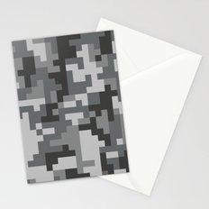 Grey Urban Pixel Camo pattern Stationery Cards