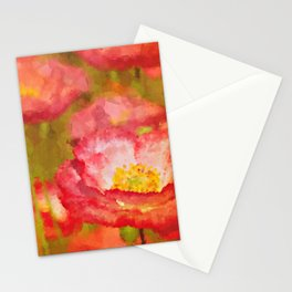 Red and White Poppy Flowers Abstract Botanical Garden Floral Landscape Stationery Cards