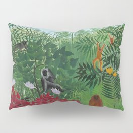 "Henri Rousseau ""Tropical Forest with Apes and Snake"", 1910 Pillow Sham"