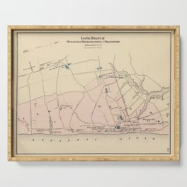 Vintage Map of Long Branch NJ (1872) Serving Tray