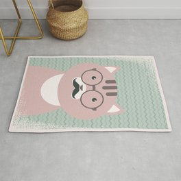 Clever Cat Hipster Mustache Character Rug