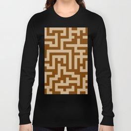 Tan Brown and Chocolate Brown Labyrinth Long Sleeve T-shirt