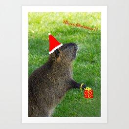 just for fun - a nutria santa ??? Art Print