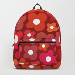 Groovy Red Flower Power Backpack