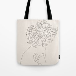 Woman with Flowers Minimal Line III Tote Bag