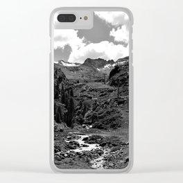 chairlift river kaunertal alps tyrol austria europe black white Clear iPhone Case