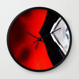 Experiment 2 Red White Black - Abstract Art by Sharon Cummings Wall Clock