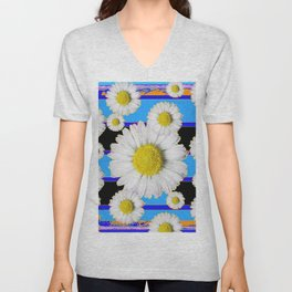 Blue Shasta Daisy's Black Color Art Unisex V-Neck
