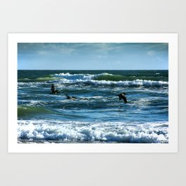 Pelicans Surf Top Flying Art Print