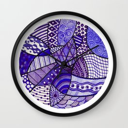 Doodly Do in purple Wall Clock