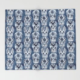 AZTEC MUERTOS Watercolor Indigo Skulls Throw Blanket