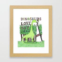 Dinosaurs Love Ice Cream Framed Art Print