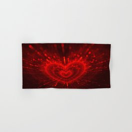 Cupid's Arrows | Valentines Day | Love Red Black Heart Texture Pattern Hand & Bath Towel