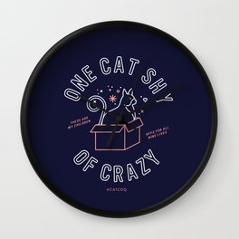 One Cat Shy of Crazy – Blush & Denim Palette Wall Clock