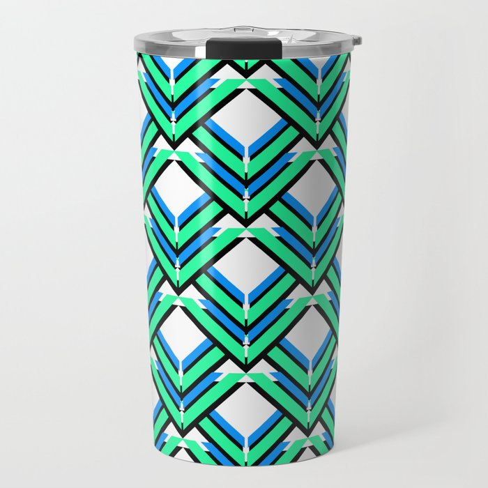 Blue Green Pattern Travel Mug
