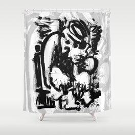 Saint With Bird - b&w Shower Curtain