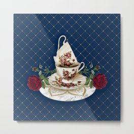 Vintage Rose Tea Cups Metal Print