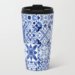 Indigo Watercolor Tiles Travel Mug