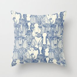just cattle classic blue pearl Throw Pillow