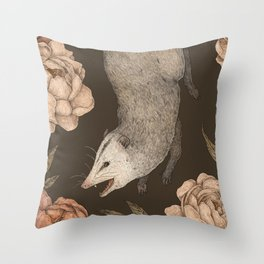 The Opossum and Peonies Throw Pillow