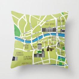 Dublin map illustrated Throw Pillow