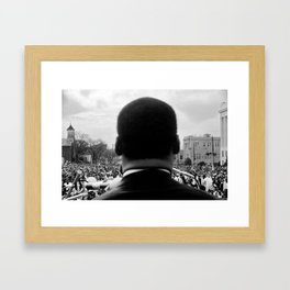 Civil Rights Selma to Montgomery, African American Rights March, March 65 black and white photograph Framed Art Print
