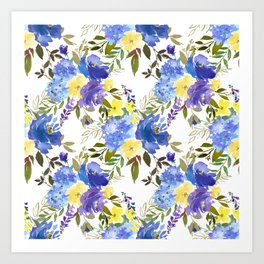 Bouquets of Blue and Yellow Blossom on Gray  Art Print