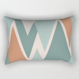 Triangular Abstract in Clay Terra Cotta, Blush, and Eucalyptus Green Rectangular Pillow
