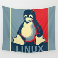 obama Wall Tapestries featuring Linux Tux classic Obama poster by Sofia Youshi