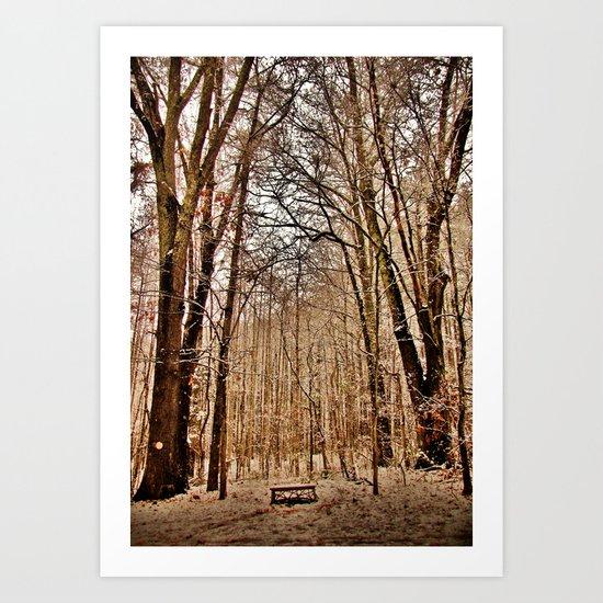 Winter's Bench Art Print